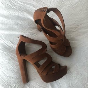 HM brown suede platform sandals